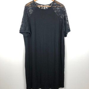 ASOS Curve Black T-Shirt Dress Geometric Sleeve